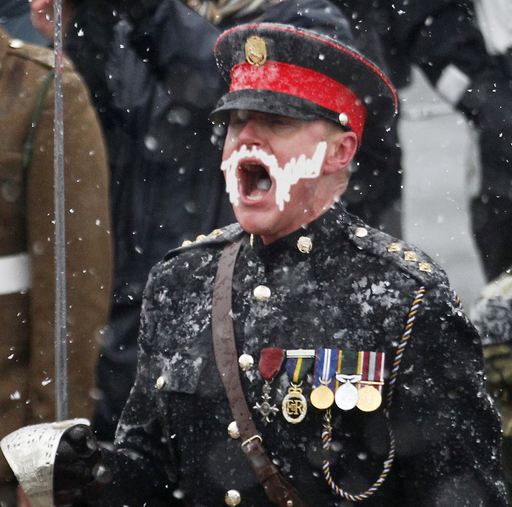Captain Brownlee during a ceremony to pay homage to the British soldiers who died in the war, in Stanley