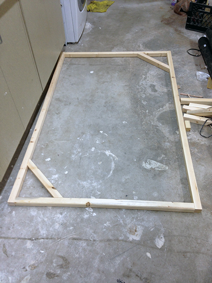 i also cut 2 pieces of cross bracing out of some leftover frame material and nailed them in with a finish nailer these were both cut to the same size the