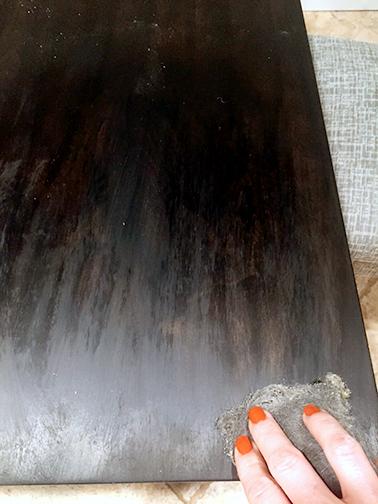 table top applying minwax paste