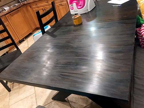 table top with minwax paste
